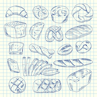 Hand drawn contoured bakery elements on paper sheet