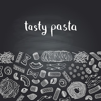 Hand drawn contoured pasta types on chalkboard with lettering. food pasta italian restaurant, sketch drawing spaghetti