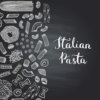 Hand drawn contoured pasta types on chalkboard with lettering