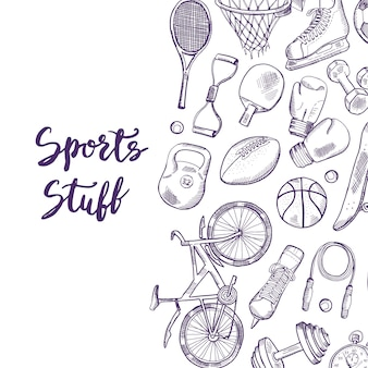 Hand drawn contoured sports equipment background illustration with place for text