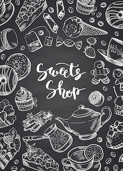Hand drawn contoured sweets on chalkboard banner