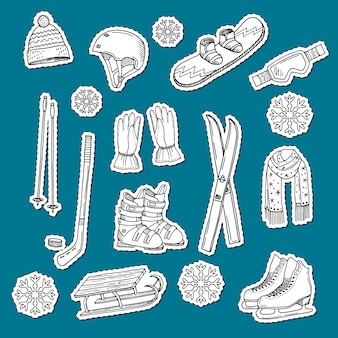 Hand drawn contoured winter sports equipment and attributes stickers.