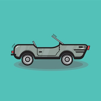 Hand drawn convertible car illustration
