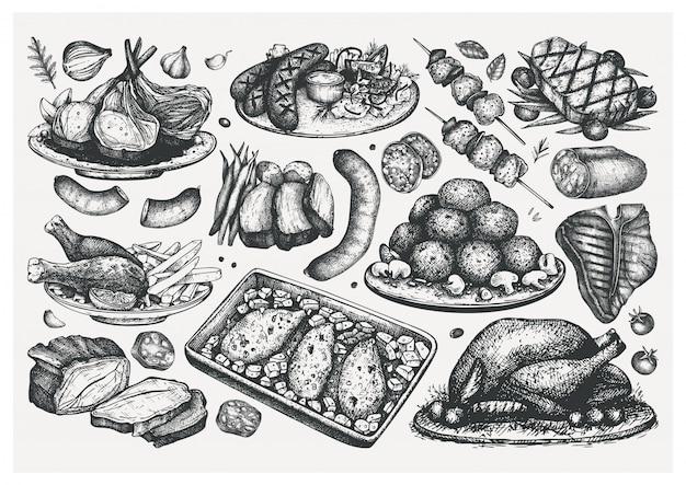 手描き調理肉料理スケッチセット。食品イラスト。刻まれたスタイルの肉製品、ステーキ、ソーセージ。肉レストランメニュー要素。フードコレクション