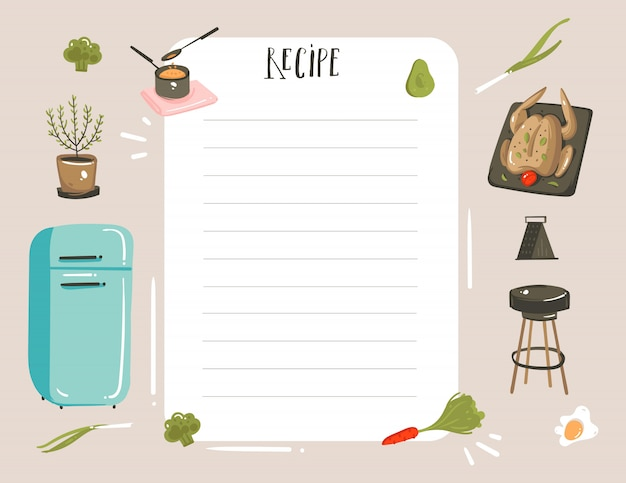 Hand drawn cooking studio illustration recipe card planner templete with food, isolated on white background