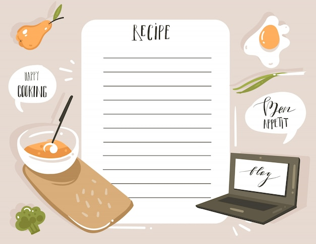 Hand drawn cooking studio illustration recipe card planner templete with food isolated on white background