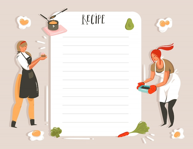 Hand drawn cooking studio illustration recipe card planner templete with girls isolated on white background