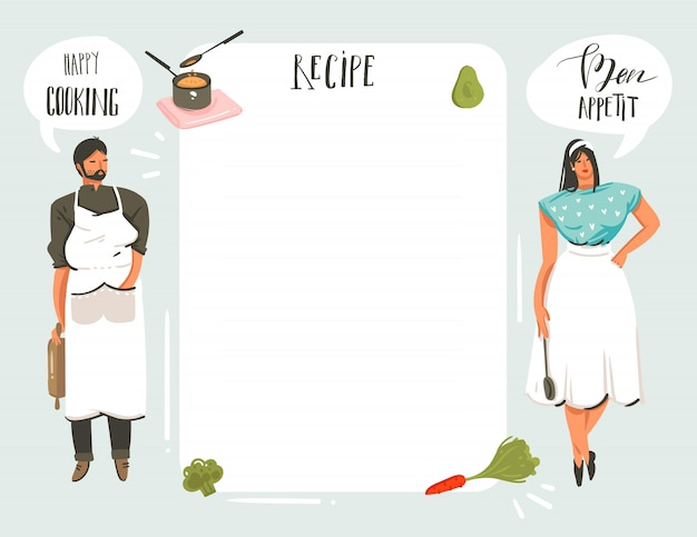 Hand drawn cooking studio illustrations recipe card templete with people, food, vegetables isolated on white background
