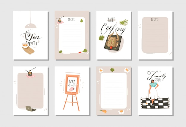 Hand drawn cooking studio illustrations recipe cards templete collection set with people, food isolated on white background