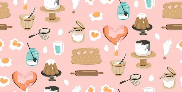 Ручной обращается время приготовления весело иллюстрации бесшовный фон с оборудованием для приготовления пищи, тортов и продуктов питания
