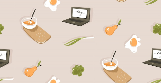 Hand drawn cooking time fun illustration seamless pattern with vegetables, food