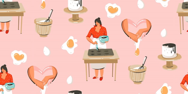 Hand drawn cooking time fun illustrations seamless pattern with cooking chef womans in white aprons preparing cookies