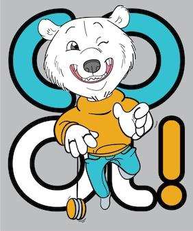 T 셔츠 인쇄를위한 손으로 그린 멋진 곰 벡터 디자인