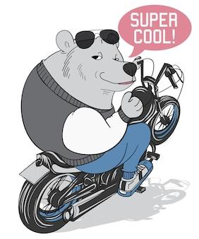 Hand drawn cool bear vector design for t shirt printing