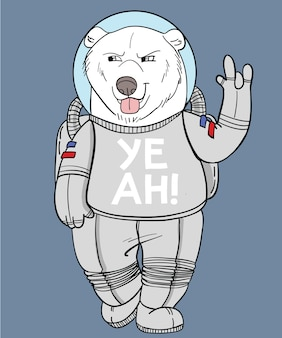Hand drawn cool bear vector design for t shirt printing