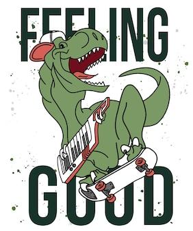 T 셔츠 인쇄를위한 손으로 그린 멋진 공룡 벡터 디자인