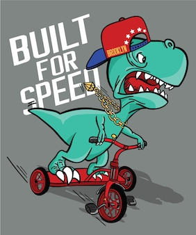 Hand drawn cool dinosaur vector design for t shirt printing