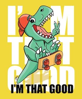 Hand drawn cool dinosaur vector design for t shirt printing