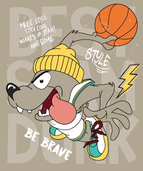 Hand drawn cool dog vector design for t shirt printing