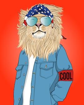 Hand drawn cool lion illustration