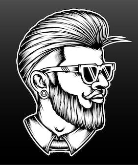 手描きのクールな男性の髪型。