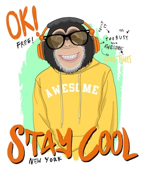 Hand drawn cool monkey illustration, vector.