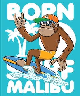 Hand drawn cool monkey vector design for t shirt printing