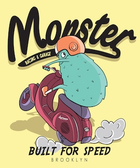 Hand drawn cool monster vector design for t shirt printing