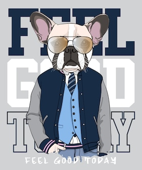 Hand drawn cool pug illustration, vector.