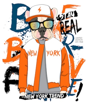 Hand drawn cool pug illustration, vector.