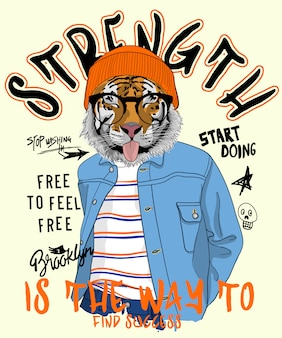 Hand drawn cool tiger illustration, vector.