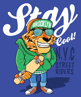 Hand drawn cool tiger vector design for t shirt printing
