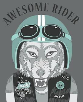 Tシャツ印刷のための手描きのクールなオオカミのベクトルデザイン