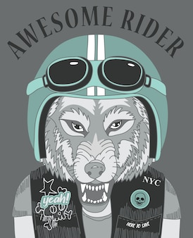Hand drawn cool wolf vector design for t shirt printing