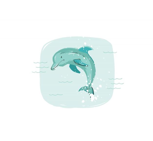 Нарисованная рукой иллюстрация забавы лета енота с прыгающим дельфином в синих океанских волнах на белом фоне