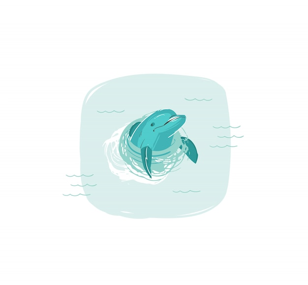 Hand drawn   coon summer time fun illustration with swimming dolphin in blue ocean waves  on white background