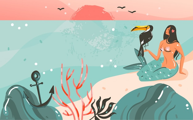 Hand drawn   coon summer time  illustrations template background with ocean beach landscape,sunset and beauty girl mermaid,toucan bird with copy space place for your text