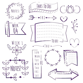 Hand drawn copy space bullet journal elements