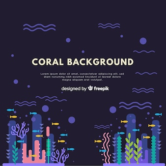 Hand drawn coral background template