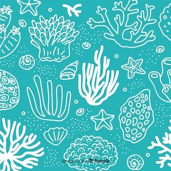 손으로 그린 산호 배경