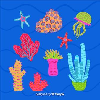 손으로 그린 산호 컬렉션