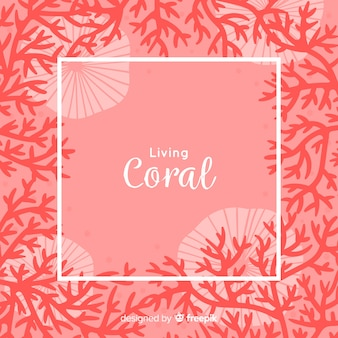 Hand drawn coral frame background