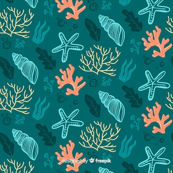 Hand drawn coral and shells pattern
