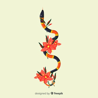 Hand drawn coral snake with flowers background