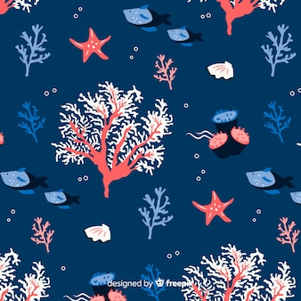 Hand drawn coral with sea animals background