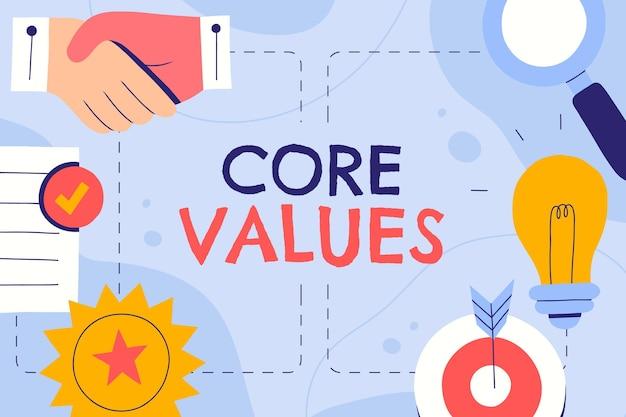 Ручной обращается фон основных ценностей