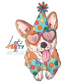 Нарисованный рукой портрет клоуна собаки корги с аксессуарами