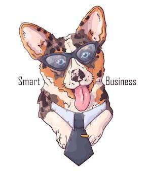 넥타이와 손으로 그린 된 corgi 개