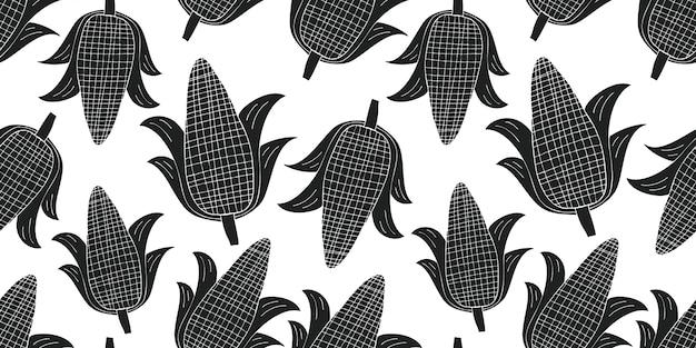 手描きのトウモロコシのシームレスなパターン。有機漫画新鮮な野菜のイラスト。