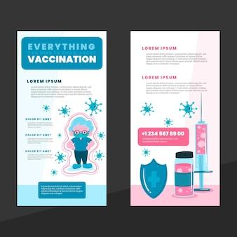 손으로 그린 코로나 바이러스 백신 정보 안내 책자
